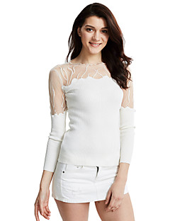 Women's Casual/Daily Sexy / Simple Regular PulloverSolid Asymmetrical Long Sleeve Polyester Fall / Winter