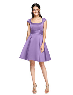 Short Bridesmaid Dresses-A-Line Square Neck Knee Length Lace Satin Bridesmaid Dress with Sash / Ribbon Pleats Ruched by LAN TING BRIDE®