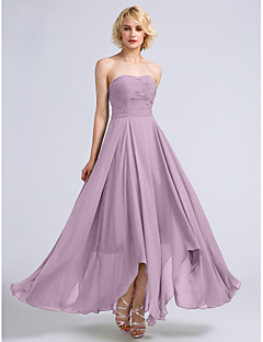 cheap Long Bridesmaid Dresses-A-Line Strapless Ankle Length Chiffon Bridesmaid Dress with Ruched by LAN TING BRIDE®