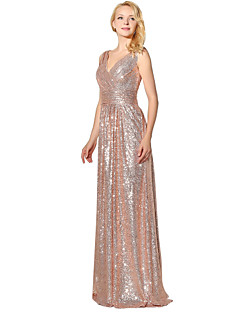 cheap Special Occasion Dresses-Mermaid / Trumpet V Neck Floor Length Sequined Prom / Formal Evening Dress with Sequin by LAN TING Express
