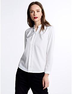 Χαμηλού Κόστους Chic Shirts-Γυναικεία Μπλούζα Δουλειά Μονόχρωμο Λαιμόκοψη V Σουρωτά Πολυεστέρας