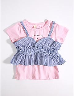 ieftine Haine de Fete-Fete Set Îmbrăcăminte Mată Dungi Bumbac Zilnic Vară Roz Îmbujorat