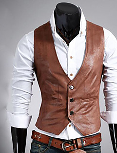 cheap Vests & Pants-Going out Solid PU Suit Vest with Pocket Single Breasted Three-buttons