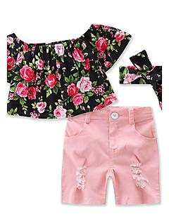billige Tøjsæt til piger-Pige Tøjsæt Blomstret Helfarve, Bomuld Sommer Kortærmet Blomster Pænt tøj Lyserød
