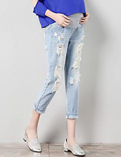 baratos Peças Inferiores-Mulheres Moda de Rua Gravidez Cintura Alta Algodão Solto Chinos Calças - Sólido Estampa Colorida