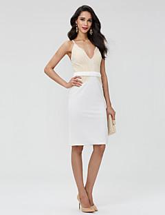 baratos Vestidos de Formatura-Tubinho Decote V Curto / Mini Renda Costas Lindas Coquetel Vestido com Faixa / Fita / Pregas de TS Couture®