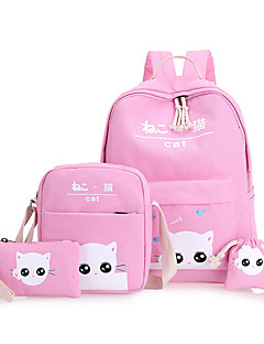Χαμηλού Κόστους -Παιδικά Τσάντες Καραβόπανο Σχολική τσάντα για Causal Αθλητικά Όλες οι εποχές Πράσινο του τριφυλλιού Μαύρο Ανθισμένο Ροζ Μπεζ Γκρίζο