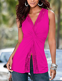 Women's Formal Sexy Tank Top,Solid Deep V Sleeveless Polyester