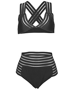 billige Bikinier og damemote 2017-Dame Sporty Med stropper Trekant Bikini - Kryss, Cheeky Ensfarget / Høy Midje