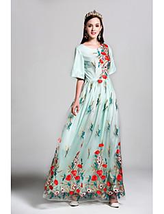 tanie SS 18 Trends-Damskie Flare rękawem Sukienka swingowa Sukienka - Haft Maxi