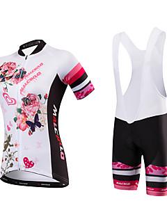billige Sykkelklær-Malciklo Dame Kortermet Sykkeljersey med bib-shorts - Hvit Blomster / botanikk Britisk Sykkel Tights Med Seler Jersey, Fort Tørring,