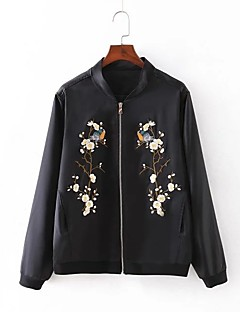 Damen Druck Street Schick Lässig/Alltäglich Jacke,Ständer Frühling Herbst Lange Ärmel Standard Baumwolle Nylon Stickerei