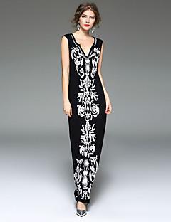 Χαμηλού Κόστους Μακριά φορέματα-Γυναικείο Πάρτι Εξόδου Καθημερινά Εφαρμοστό Φόρεμα,Στάμπα Αμάνικο Λαιμόκοψη V Μακρύ Ρεϊγιόν Spandex Άνοιξη Καλοκαίρι Κανονική Μέση