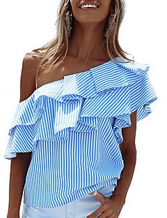 cheap Women's Tops-Women's Holiday Street chic T-shirt - Striped Layered / Ruffle One Shoulder / Summer / Fall