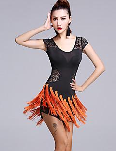 ラテンダンス ワンピース 女性用 演出 レース ビスコース レース 2個 半袖 ナチュラルウエスト ドレス ショートパンツ