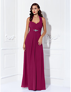 Sheath / Column Halter Floor Length Chiffon Bridesmaid Dress with Beading Draping Criss Cross Ruching by LAN TING BRIDE®
