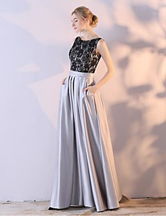 Ball Gown Scoop Neck Ankle Length Lace Satin Chiffon Formal Evening Dress with by Embroidered Bridal