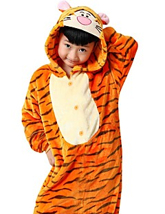 Pijama Kigurumi Tiger Pijama Macacão Pijamas Ocasiões Especiais Flanela Tosão Laranja Cosplay Para Criança Adulto Pijamas Animais desenho