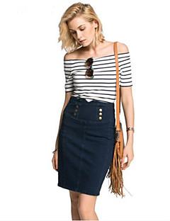 economico Top da donna-T-shirt Per donna A strisce A barca - Cotone