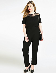 Cute Ann Women's High Rise Work Going out Casual/Daily Jumpsuits,Sexy Vintage Street chic Straight Slim Mesh Sexy Solid Check All Seasons