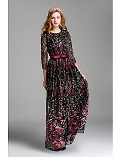 Χαμηλού Κόστους Φορέματα-Γυναικεία Χαριτωμένο Swing Φόρεμα - Κέντημα Μακρύ