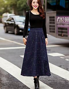 저렴한 -여성 단순한 Midi 스커트,A 라인 겨울 줄무늬