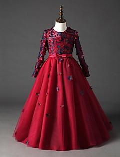 halpa -ball gown lattia pituus kukka tyttö mekko - organza pitkät hihat jalokivikaulus, jossa applique by ydn