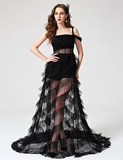 billige Kjoler i plusstørrelse-A-linje Firkantet hals Gulvlang Tyll Formell kveld Kjole med Plissert av TS Couture®