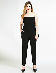 Cute Ann Women's High Rise Work Beach Party Going out Casual/Daily Club Holiday Jumpsuits,Sexy Vintage Simple Straight Slim Pure Color Knitting