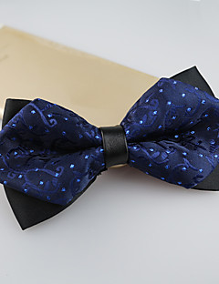 Men's Polyester Bow Tie,Vintage Cute Party Work Casual Jacquard All Seasons Navy Blue