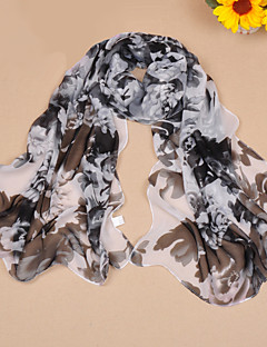 Women's Chiffon Scarf Cute Party Casual Rectangle Pink/Black/Blue/Grey/Fuchsia/Brown Print Scarves