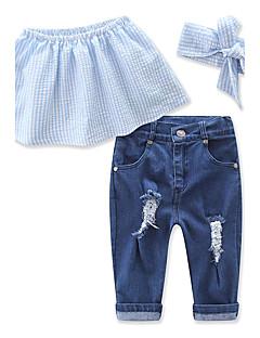 billige Tøjsæt til piger-Pige Tøjsæt Daglig Strand Ferie Ensfarvet, Bomuld Polyester Sommer Uden ærmer Pænt tøj Blå