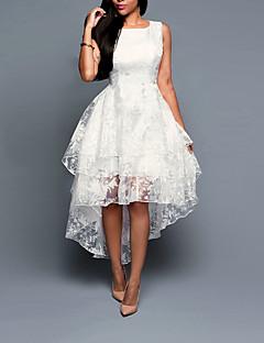 Damen Hülle Kleid-Ausgehen Solide Rundhalsausschnitt Asymmetrisch Ärmellos Polyester Sommer Mittlere Hüfthöhe Mikro-elastisch Mittel