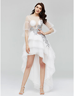 A-Line Bateau Neck Asymmetrical Tulle Cocktail Party Dress with Beading Appliques by TS Couture®