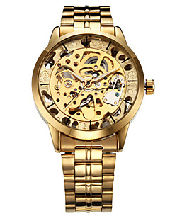 WINNER Herren Armbanduhr Mechanische Uhr Automatikaufzug Transparentes Ziffernblatt Edelstahl Band Luxuriös Gold Gold Silber Silber Golden