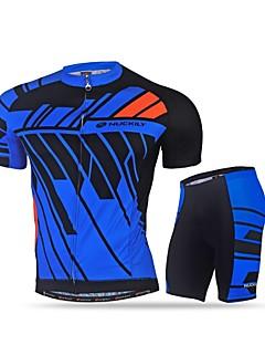 billige Sykkelklær-Nuckily Herre Sykkeljersey med shorts - Svart Blå Sykkel Klessett, Fort Tørring, Ultraviolet Motstandsdyktig, Refleksbånd