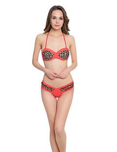 Dame Dytt opp Bikini Dyr,Polyester Grime Matte Black