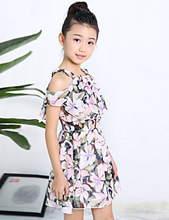 cheap Kids' New Ins-Girl's Daily Going out Holiday Floral Dress, Cotton Summer Short Sleeves Floral White Black Blushing Pink