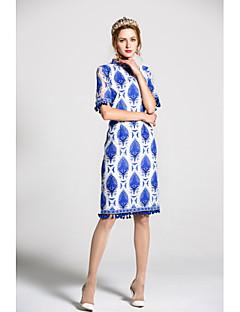 Damen Bodycon Kleid-Ausgehen Lässig/Alltäglich Niedlich Druck Ständer Knielang Kurzarm Polyester Frühling Sommer Mittlere Hüfthöhe