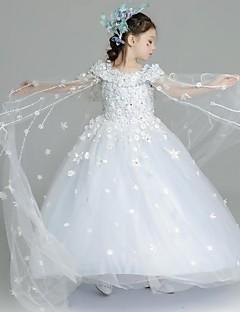 halpa -ball gown lattia pituus kukka tyttö mekko - organza lyhythihainen hihat spaghetti hihnat ydn