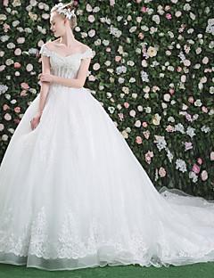 billige Bryllupsbutikken-Ballkjole Løse skuldre Katedralslep Lace Over Tulle Egendefinerte brudekjoler med Krystall Perlearbeid Paljett Mønster av LAN TING Express