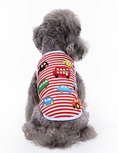 billiga Hundkläder-Katt Hund T-shirt Väst Hundkläder Broderi Röd Cotton Kostym För husdjur Herr Dam Gulligt Ledigt/vardag Mode