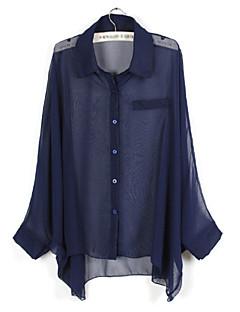 Femei Bluză Casul/Zilnic Simplu(ă),Mată Manșon Lung Primăvară-Albastru / Roz / Bej / Negru / Verde Subțire