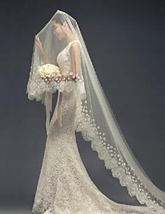One-tier Lace Applique Edge Wedding Veil Cathedral Veils With Scattered Bead Floral Motif Style Tulle