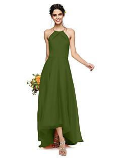 tanie W zgodzie z naturą-Krój A Halter Asymetryczna Organza / Satyna Sukienka dla druhny z Plisy przez LAN TING BRIDE® / Piękne plecy