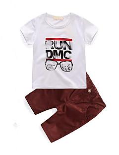Drenge Indstiller I-byen-tøj Afslappet/Hverdag Trykt mønster,Bomuld Sommer Kortærmet Tøjsæt
