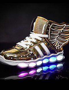 hesapli -Genç Erkek Ayakkabı Sentetik Yaz Sonbahar Işıklı Ayakkabılar Spor Ayakkabısı Atletik Günlük Dış mekan için Bağcıklı Altın Siyah Gümüş