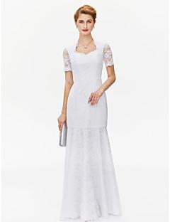 billiga Klänningar till brudens mor-Åtsmitande Queen Anne Golvlång Heltäckande spets Klänning till brudens mor med Spets av LAN TING BRIDE®