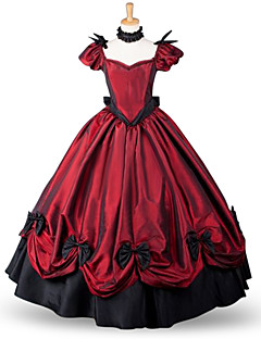One Piece Dress Classic/Traditional Lolita Victorian Cosplay Lolita Dress Red Solid Color Skirt Bow For Padded Fabric