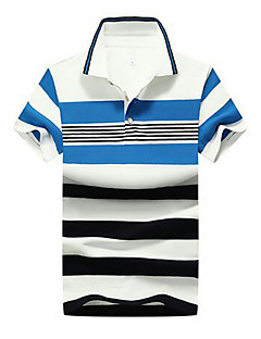 Men's Casual Summer Polo,Striped Shirt Collar Short Sleeves Cotton Thin